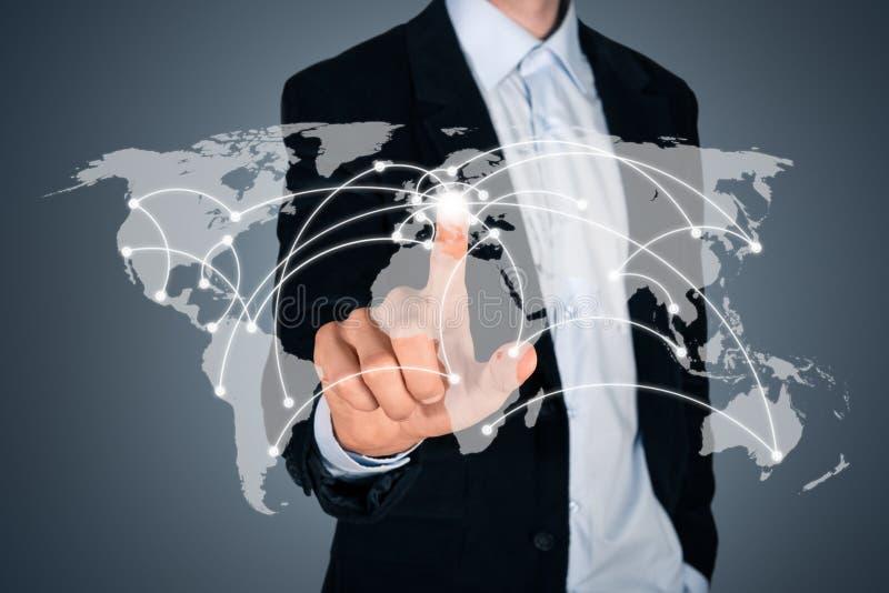 Принципиальная схема соединения глобального бизнеса стоковые изображения