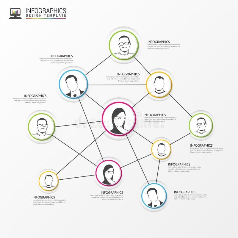 принципиальная схема цифрово произвела высокий social res сети изображения Глобальная связь, infographic вектор иллюстрация штока