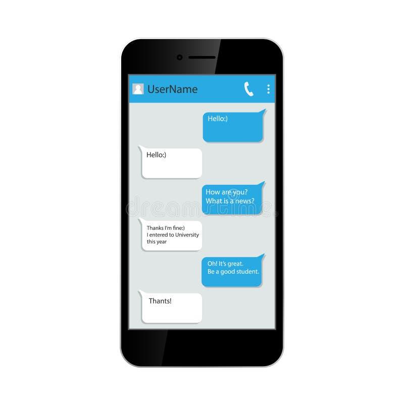 принципиальная схема цифрово произвела высокий social res сети изображения Окно посыльного на smartphone Chating и послание белиз иллюстрация штока