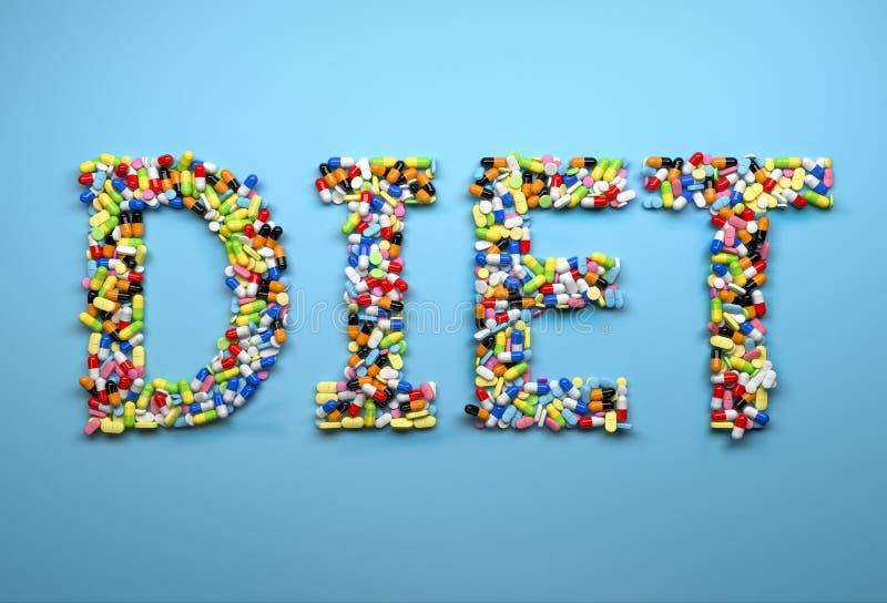 Принципиальная схема dieting Сформулируйте диету сделанную красочных пилюлек и капсулы стоковая фотография rf