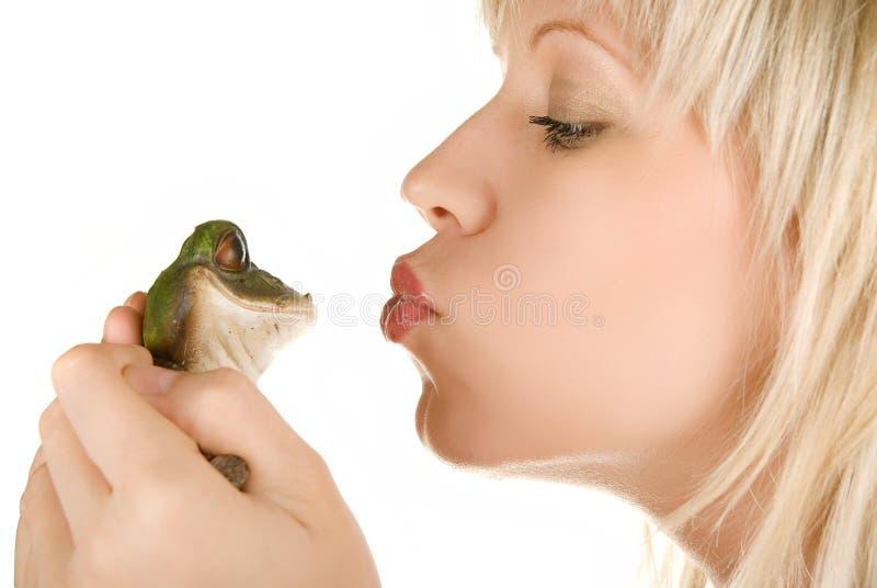 Принц девушки и лягушки стоковое изображение rf