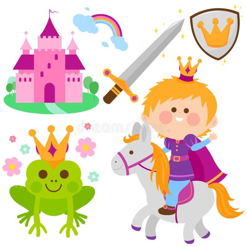 Принц ехать комплект сказки лошади иллюстрация вектора