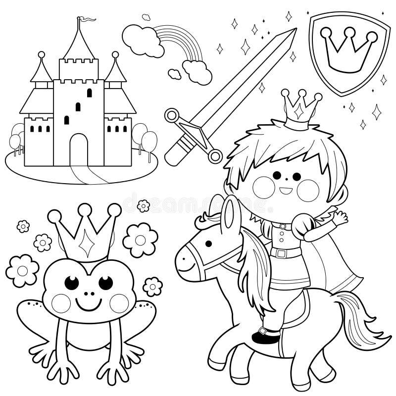 Принц ехать страница расцветки сказки лошади установленная иллюстрация вектора