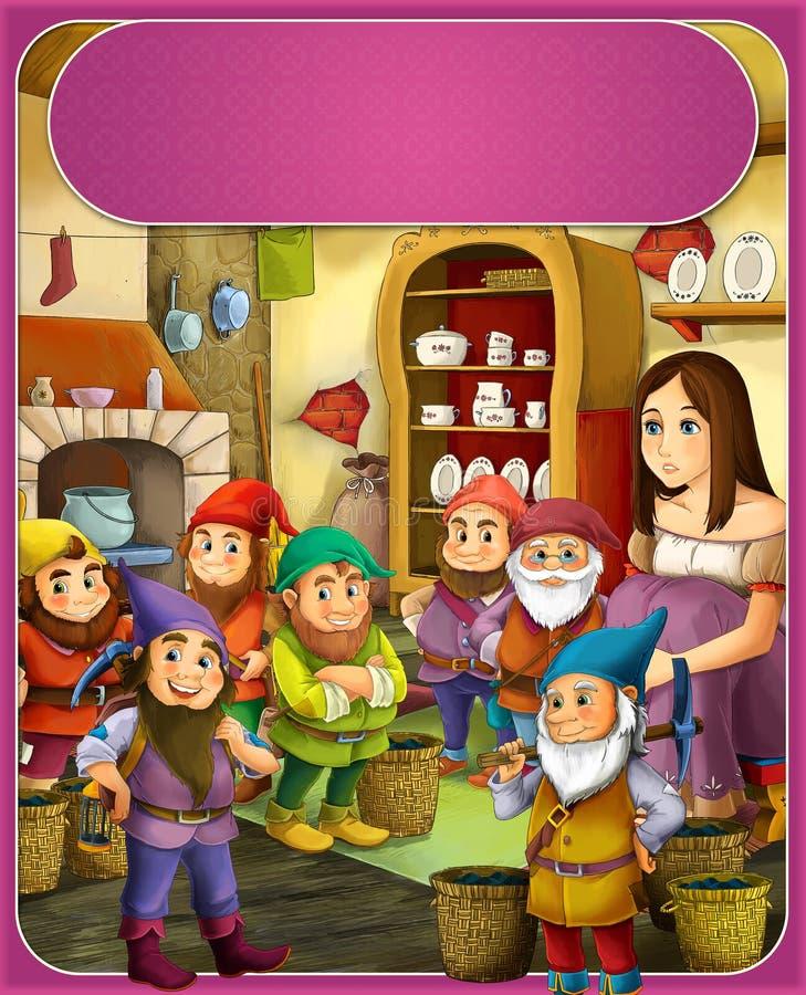 Принц снега бело- или принцесса - замки - рыцари и феи - иллюстрация для детей иллюстрация штока