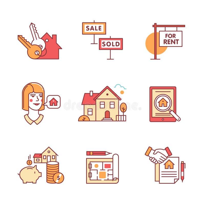 Приобретение недвижимости, продавая и арендуя установленные знаки иллюстрация вектора