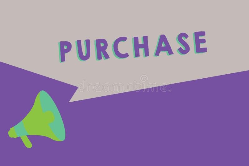 Приобретение показа знака текста Схематическое фото приобретает что-то путем оплачивать для его контакт или сжатие фирмы покупки бесплатная иллюстрация
