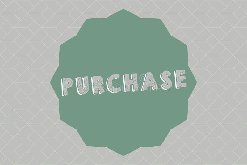 Приобретение показа знака текста Схематическое фото приобретает что-то путем оплачивать для его контакт или сжатие фирмы покупки иллюстрация штока