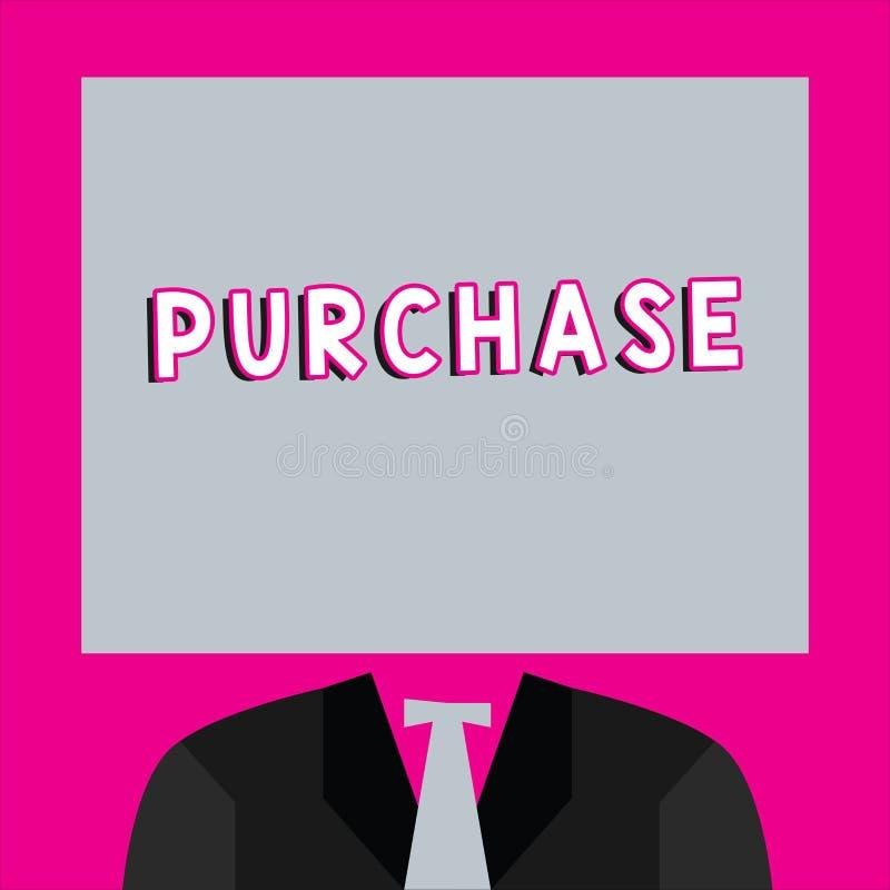 Приобретение текста сочинительства слова Концепция дела для приобретает что-то путем оплачивать для ее контакт или сжатие фирмы п иллюстрация вектора