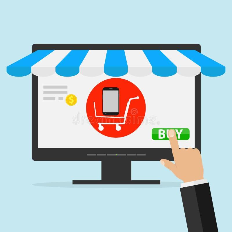 Приобретение товаров через интернет Онлайн приобретение мобильного телефона на мониторе компьютера иллюстрация штока
