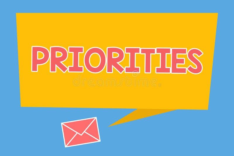 Приоритеты текста почерка Вещи смысла концепции которые сосчитаны как важный срочный чем другие иллюстрация вектора