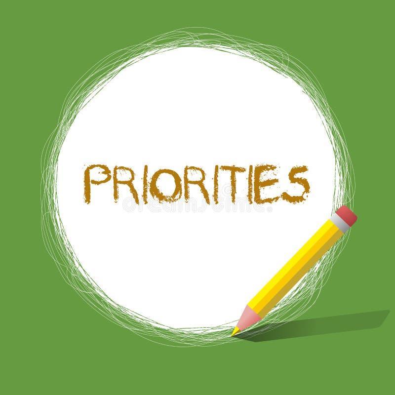Приоритеты текста почерка Вещи смысла концепции которые сосчитаны как важный срочный чем другие бесплатная иллюстрация
