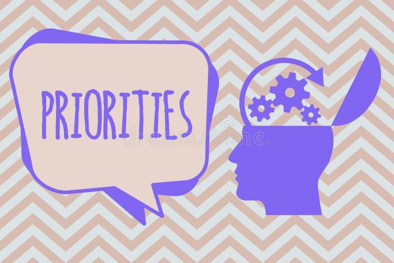 Приоритеты текста сочинительства слова Концепция дела для вещей которые сосчитаны как важный срочный чем другие иллюстрация штока