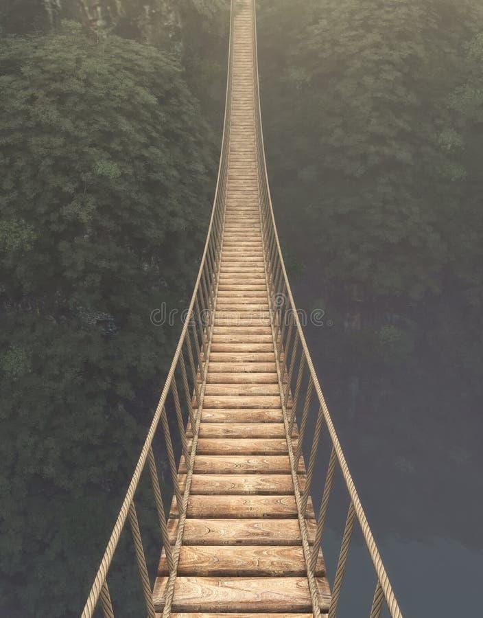 Приостанавливанный мост веревочки бесплатная иллюстрация