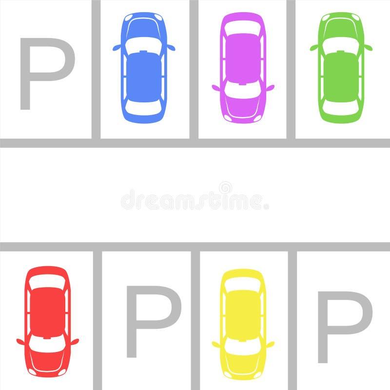 припаркованные автомобили в зоне автостоянки над белой предпосылкой вектор пользы штока иллюстрации конструкции ваш бесплатная иллюстрация