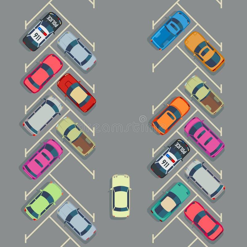 Припаркованные автомобили на взгляд сверху автостоянки, концепции городского транспорта вектора бесплатная иллюстрация