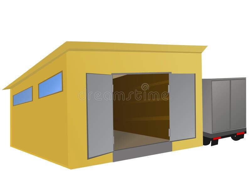 припаркованный пакгауз тележки иллюстрация вектора