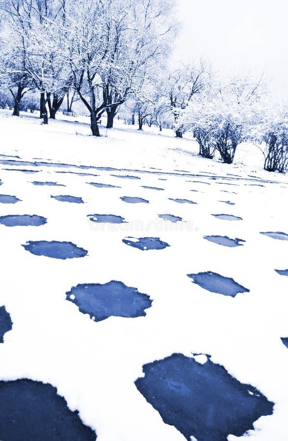 припаркуйте урбанскую зиму стоковая фотография