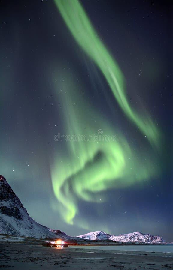 Приполюсные света в небе над горами на северном пляже в Норвегии стоковые изображения rf