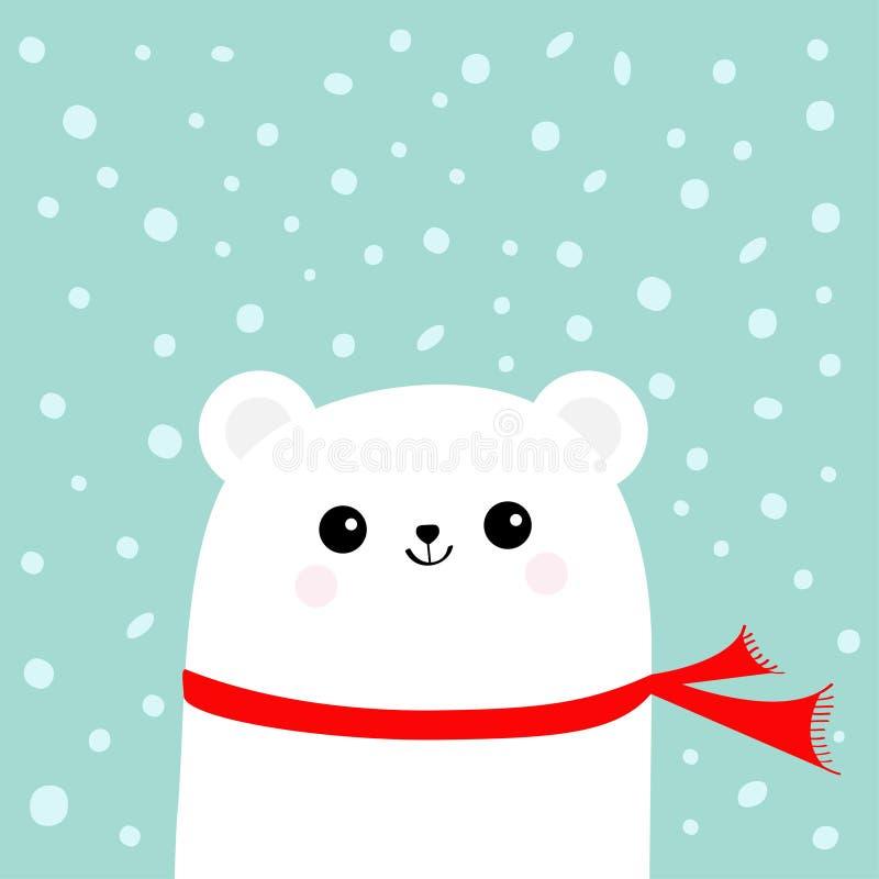 Приполюсный белый маленький малый новичок медведя нося красный шарф Головная сторона с глазами и улыбкой Милый характер младенца  иллюстрация штока