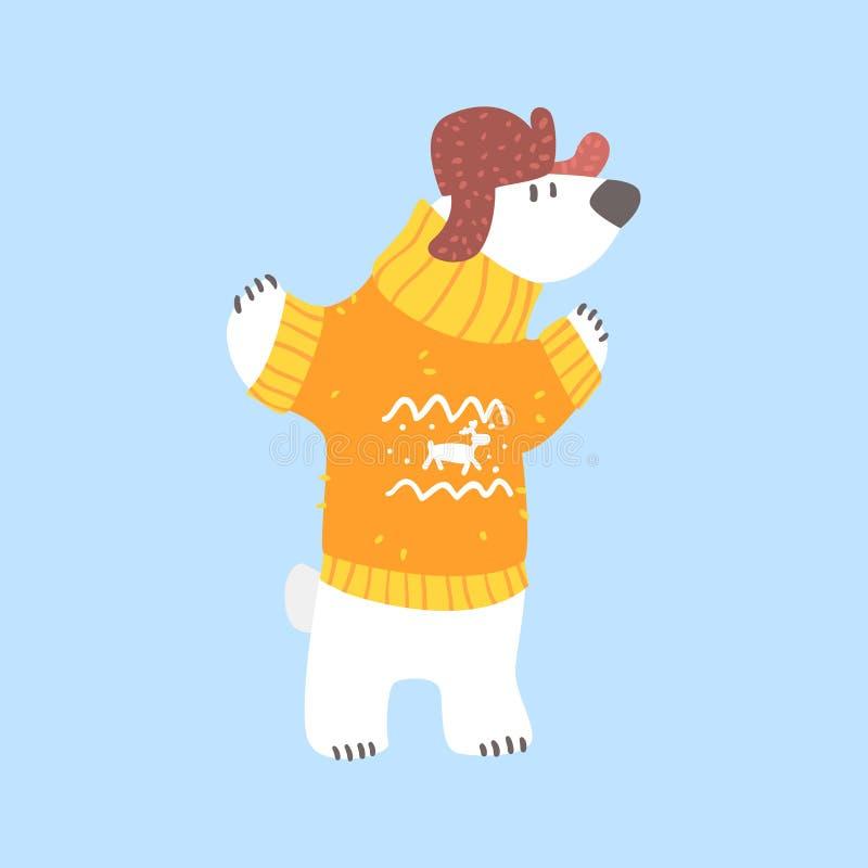 Приполюсный белый медведь в свитере и крышке с щитками уха, ледовитом животном одетом в персонаже из мультфильма одежд человека з бесплатная иллюстрация