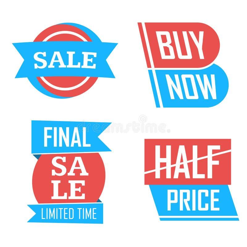 Приправьте значки продажи и бирки конструируют комплект для знамен, выдвиженческих брошюр, плакатов скидки, ходя по магазинам рог бесплатная иллюстрация