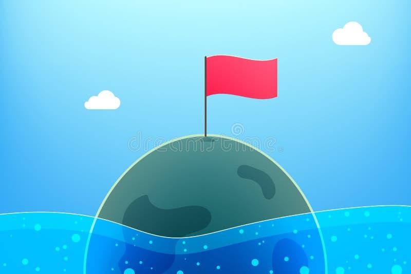 Природа в полдень Прекрасный остров с флагом и облаком Схема внешнего вектора Прекрасный пейзаж иллюстрация штока