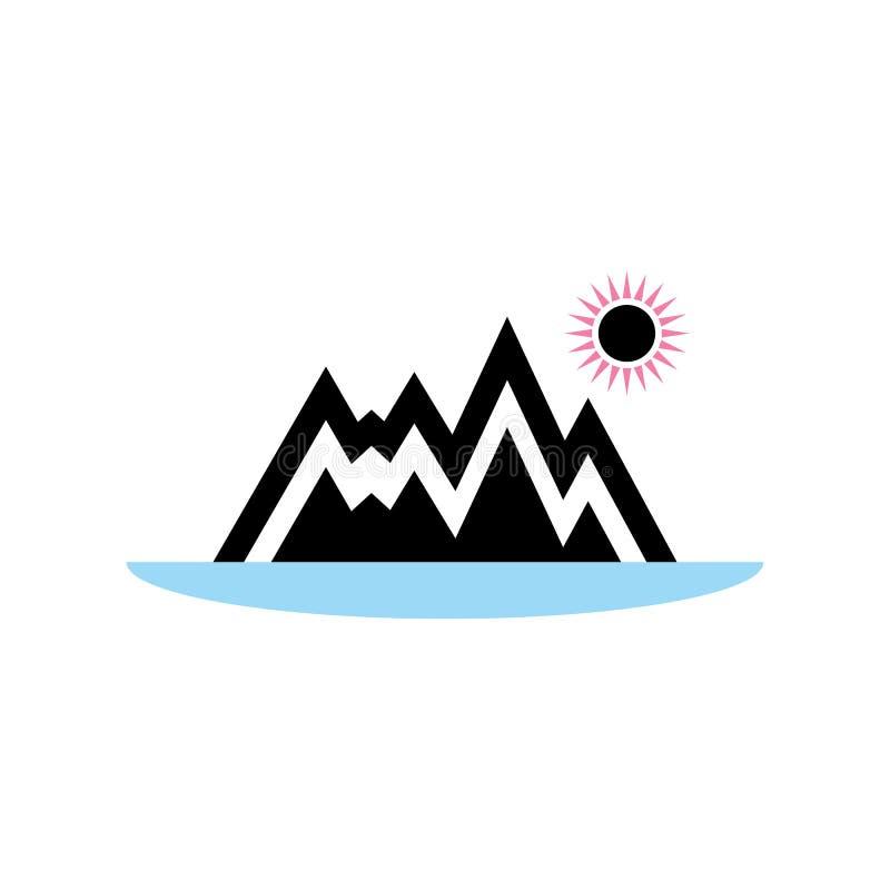 Природа в форме значка гор, озер и солнца в скандинавском стиле Вектор eps10 значка гор бесплатная иллюстрация