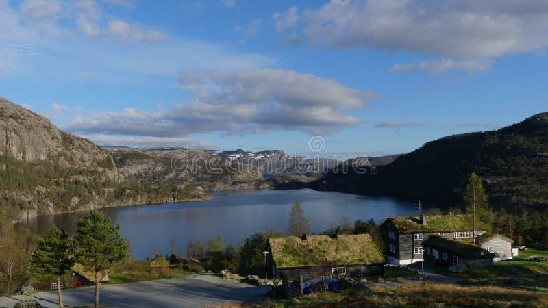 Природа Норвегии близко Preikestolen стоковое фото