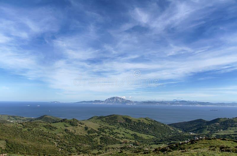 Природный парк Mirador del Estrecho в Тарифе с взглядами держателя Musa на побережье Африки стоковое фото