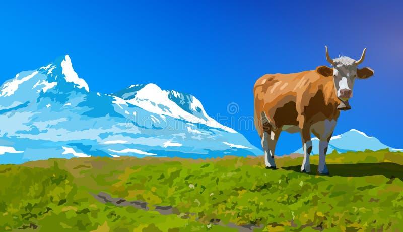 природа горы лужка ландшафта коровы принципиальной схемы иллюстрация штока