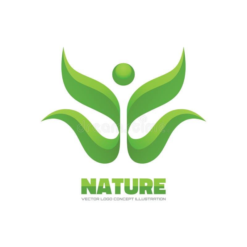 Природа - иллюстрация концепции логотипа вектора Очистите зеленый мир листает логос Био логотип продукта Очистите зеленый мир Рос бесплатная иллюстрация