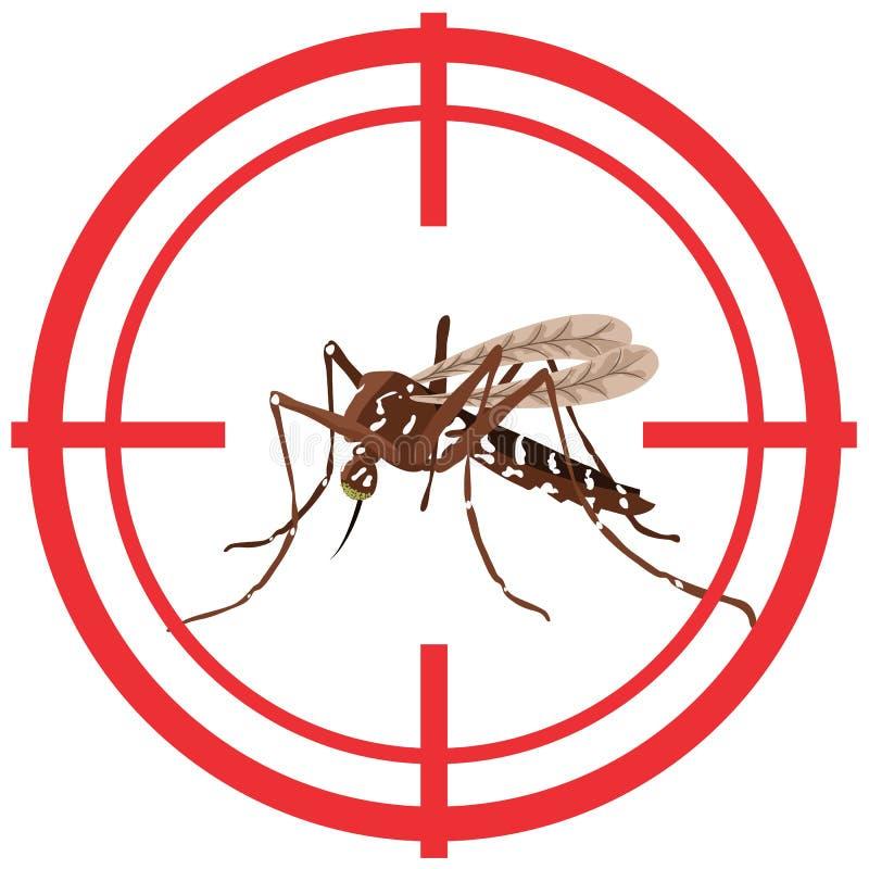 Природа, москиты Aegypti Aedes с целью ходулей иллюстрация вектора