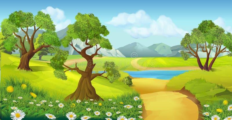 Природа, предпосылка ландшафта иллюстрация штока