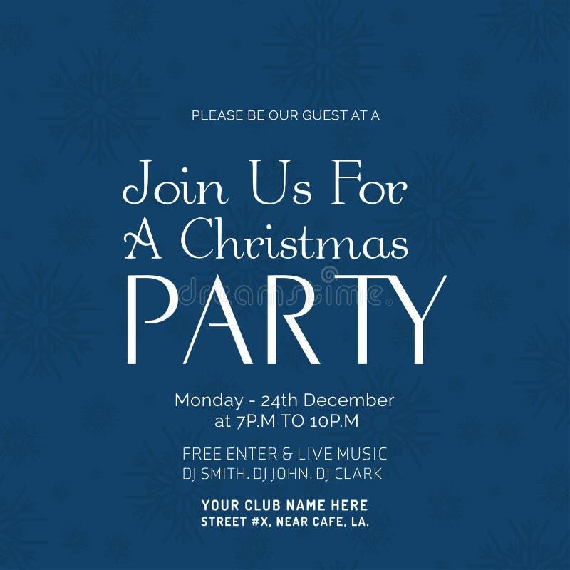Присоединяться к нам для шаблона плаката рождественской вечеринки иллюстрация штока