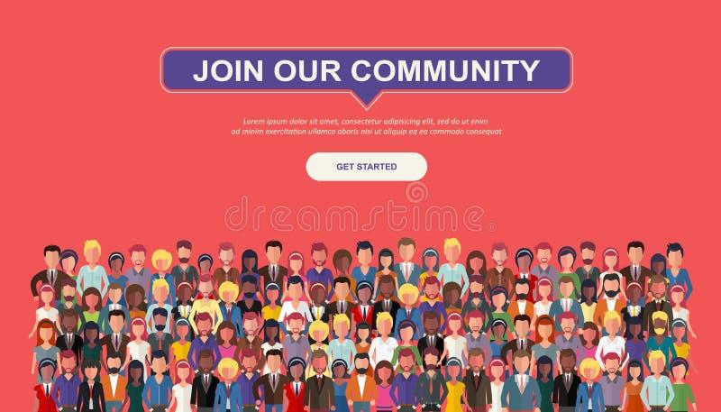 Присоединяться к нашей общине Толпа объединенных людей как дело или творческой общины стоя совместно Плоский temp вебсайта вектор иллюстрация штока
