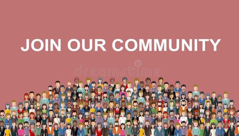 Присоединяться к нашей общине Толпа объединенных людей как дело или творческой общины стоя совместно Плоский temp вебсайта вектор бесплатная иллюстрация