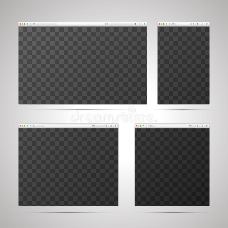 Приспособительная конструктивная схема веб-дизайна с шаблонами браузеров в различных размерах и место для плана иллюстрация вектора