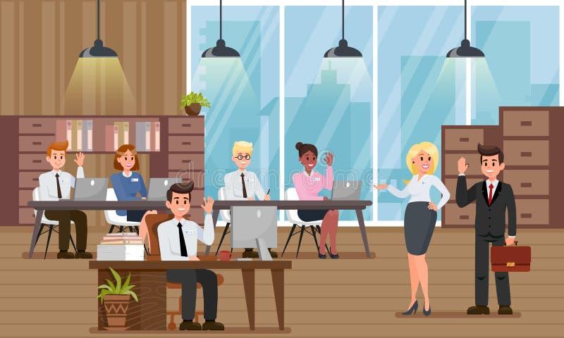 Приспособление в новом офисе Иллюстрация вектора плоская бесплатная иллюстрация
