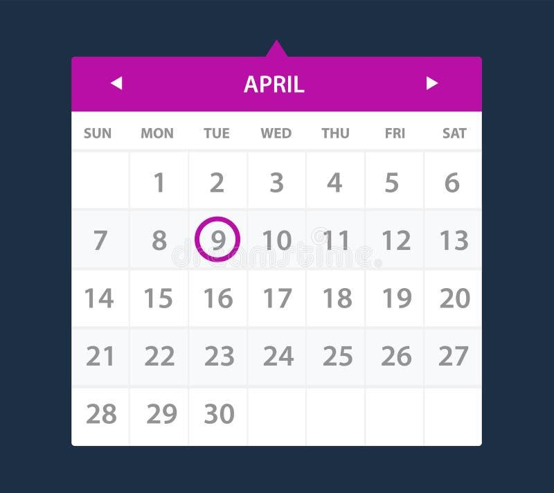Приспособление календаря интерфейс ui иллюстрация штока