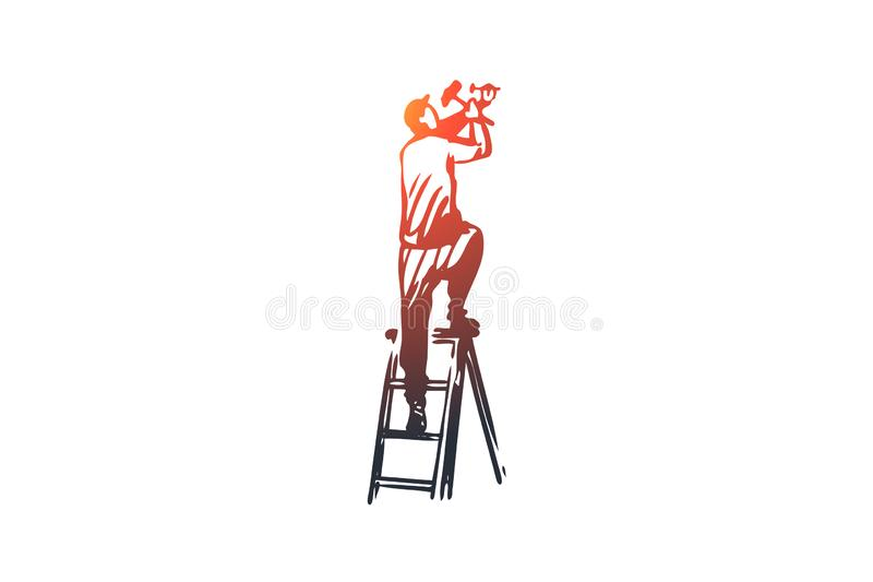 Приспособление, установка, ремонт, работник, концепция конструкции Вектор нарисованный рукой изолированный иллюстрация вектора