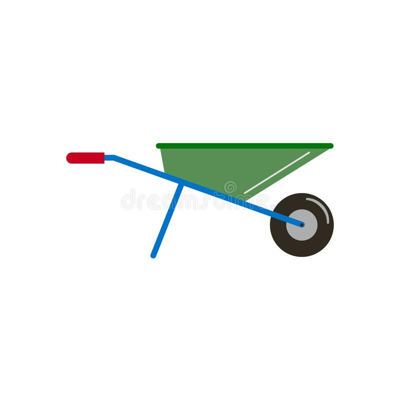 Приспособления засаживая тачку сада, выкапывая вверх землю, полив, управление засорителя, жать в работе тачки сада к иллюстрация вектора