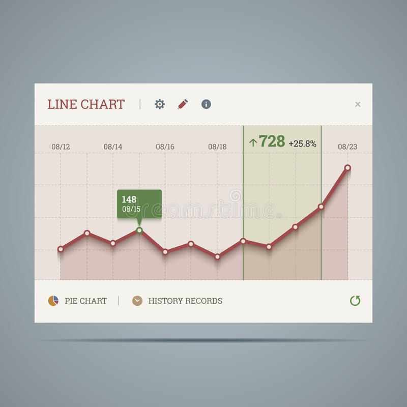 Приспособление с растущей линией диаграммой и значками иллюстрация штока