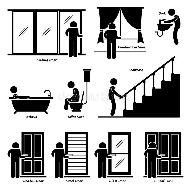 Приспособления домашнего дома крытые иллюстрация штока