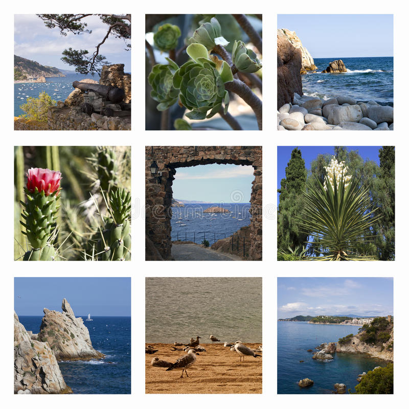 приставает испанские языки к берегу моря коллажа стоковое изображение