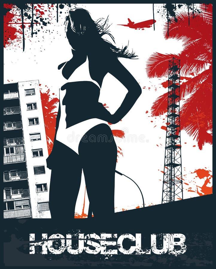 пристаньте дом к берегу девушки клуба иллюстрация штока