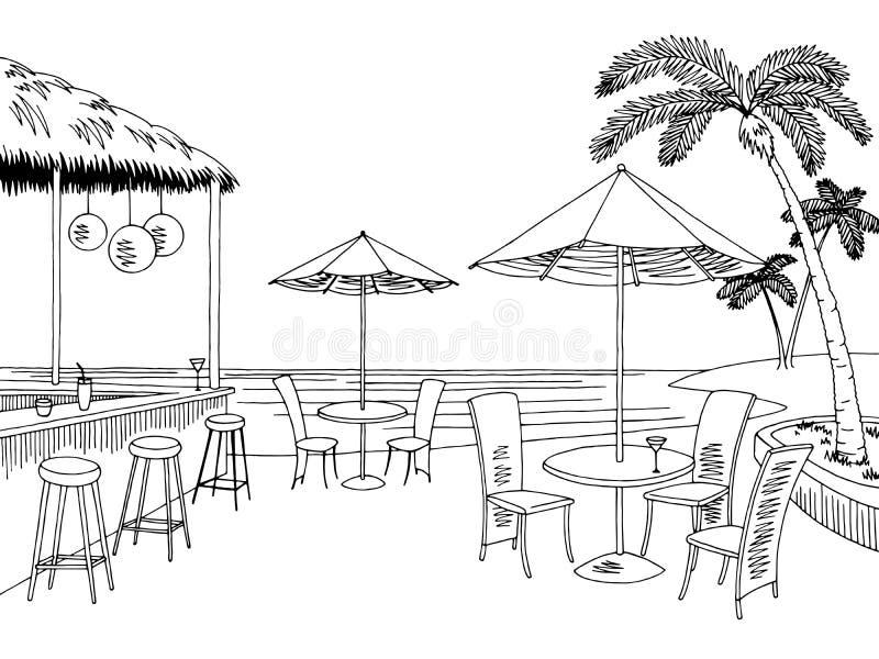 Пристаньте иллюстрацию к берегу эскиза ландшафта бара кафа графическую черную белую иллюстрация вектора