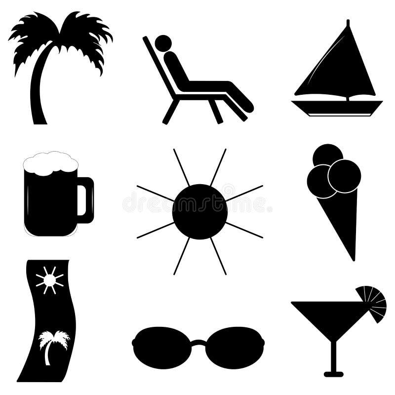 Пристаньте каникулу к берегу Комплект значков вектора для вашего дизайна иллюстрация вектора