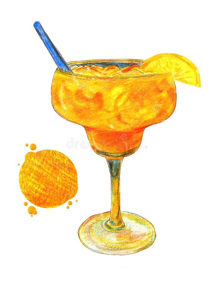 Пристаньте коктеиль к берегу желт-апельсина в форме стекла изолированной и покрашенной надписи на белой предпосылке иллюстрация штока
