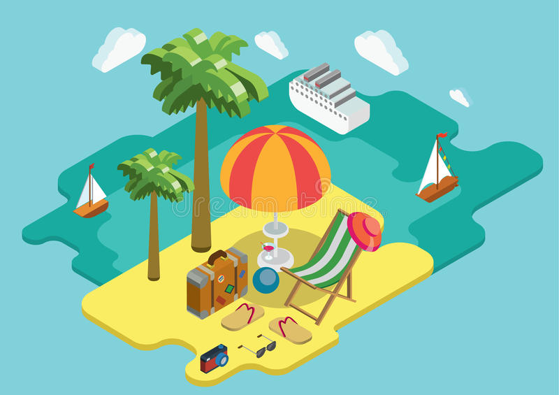 Пристаньте концепцию к берегу 3d летних каникулов круиза океана моря плоскую равновеликую иллюстрация штока