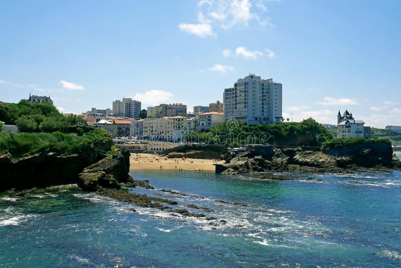 Пристаньте к берегу в городе Биаррица, баскского побережья, Франции стоковые фото